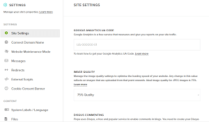 Pixpa Website Builder Review Settings