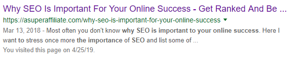 Why SEO is important for your online success Title and snippet.